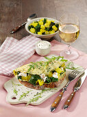 Spicy omelette with potatoes and chard on farmhouse bread