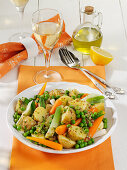 Warm potato salad with spring vegetables