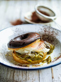 Donut with egg and green peppers