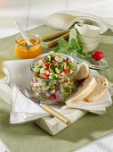 Broad bean salad in a glass