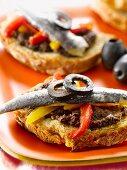Tapenade,marinated sardine and pepper open sandwich