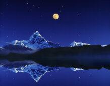 The holy Macchapucchare Mountain, reflection, Pokhara, Nepal, Asia