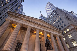 Georg Washington Statue vor Federal Hall, 1842, Wall Street, Downtown, Manhattan, New York City, New York, USA