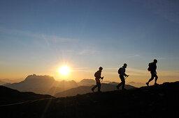 Female hikers on mount Steinplatte, Waidring, Tyrol, Austria