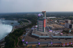 Skylon Tower view on the falls and Fallsview Casino, Niagara Falls, Province Ontario, Canada