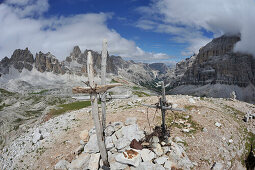 Forcella Col de Pois, View into Travenanzes Valley, left Cadin Mountains, right Tofana, Dolomites, South Tirol, Italy