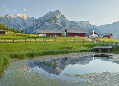 pond on the top, Grace, Huder Walderalm Bank Forest, Karwendel, Tyrol, Austria