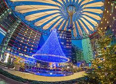 Christmas market at Sony Center, Potsdamer Platz, Berlin