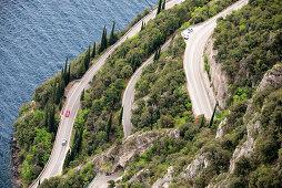 Coaststreet near Pieve in Tremosine, Westbank, Lake Garda, Trentino, Italy