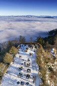Panoramablick vom Aussichturm des Uetliberg, Nebel, Kanton Zuerich