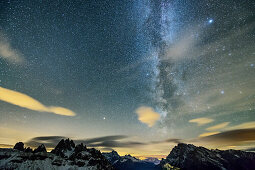 Milky Way above Cadini Group and Monte Cristallo, from hut Auronzo-Huette, Tre Cime, Sexten Dolomites, Dolomites, UNESCO World Heritage Site Dolomites, Venetia, Italy