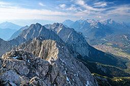 View towards Karwendel and Wetterstein, from Woerner, Karwendel range, Upper Bavaria, Bavaria, Germany