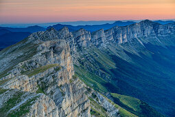 Morning Mood about the rock crashes of the Vercors, the Grand Veymont, Vercors, Dauphine, Dauphine, Isère, France