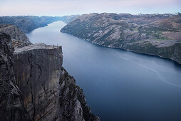 photo shoot at Preikestolen or Prekestolen, Lysefjord, Rogaland Province, Norway, Scandinavia, Europe