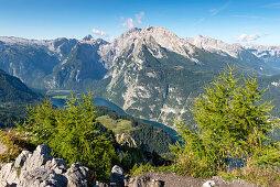 View from Jenner to Watzmann and Koenigssee, Berchtesgaden National Park, Berchtesgadener Land, Upper Bavaria, Bavaria, Germany, Europe