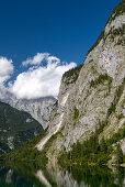 Obersee mit Kaunerwand, Watzmann und Hachelköpfe, Nationalpark Berchtesgaden, Berchtesgadener Land, Bayern, Deutschland, Europa