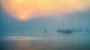 Neblige Herbststimmung bei Sonnenaufgang am Starnberger See, Bayern, Deutschland