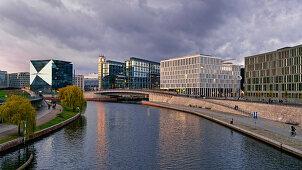 Panoramablick, Spree, Cube, Lehrter Bahnhof, Spreebogen, Berlin, Deutschland