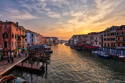 Grand Canal at sunset from the Rialto Bridge in Venice, Veneto, Italy