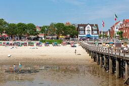 Jetty, beach, Wyk, Föhr, Scheswig-Holstein, Germany