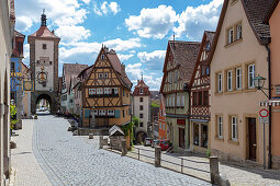 The Plönlein with the Sieberstor (left) and the Kobolzeller Tor (center) in Rothenburg ob der Tauber, Middle Franconia, Bavaria, Germany