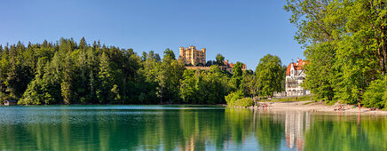 Hohenschwangau Castle on Schwansee, panorama, Bavarian Allgäu, Bavaria, Germany