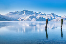 Winter morning at Kochelsee, Kochel am See, Bavaria, Germany, Europe