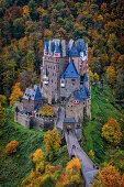 After daybreak at Eltz Castle, Rhineland-Palatinate, Germany, Europe