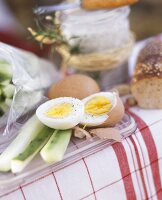 Hard Boiled Eggs and Cucumber Strips For a Picnic