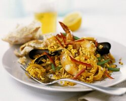 Paella with strips of pepper
