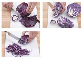 Trimming and shredding red cabbage