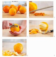 Orange zest being grated and oranges being peeled