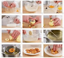 Steps for making apple fritters