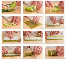 Making maki sushi with cucumber