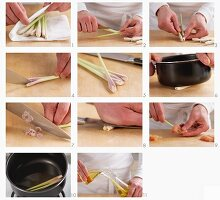 Preparing lemon grass