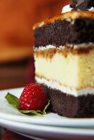 A Piece of Cappuccino Cake With Raspberry