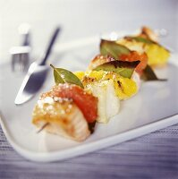 Fish and citrus fruit kebab