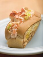 Bread roll filled with lobster salad