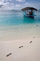 Traditionelles Boot Dhoni Malediven, Insel Velighandu Huraa