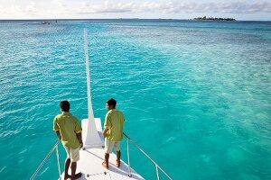 Blick vom Boot, Malediver, Insel Velighanduhuraa, Malediven