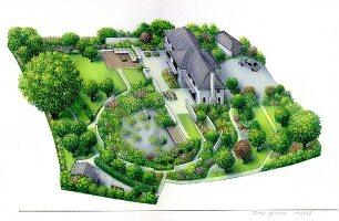 Garten, Zeichnung, Planung, von oben