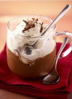 Cappuccino ice cream with cream