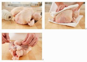 Patting chicken dry and trussing