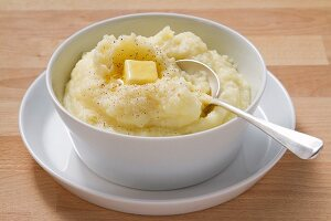 Mashed potatoes with a knob of butter