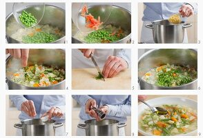 Minestrone being prepared