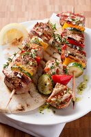 Grilled vegetable and meat kebabs