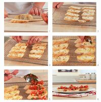 Bruschetta zubereiten: Tomaten auf Brotscheiben verteilen