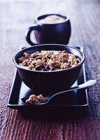 Bowl of granola on tray