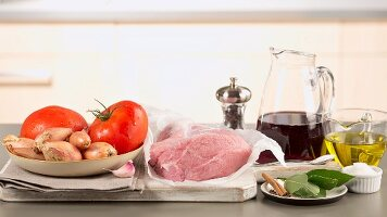 Ingredients for stifado (Greek meat stew)