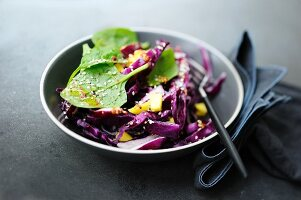 A winter salad with red cabbage, spinach and mango